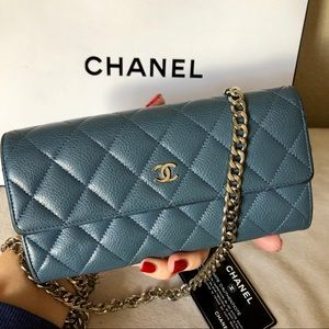 CHANEL Quilted Caviar Leather CC Wallet on Chain